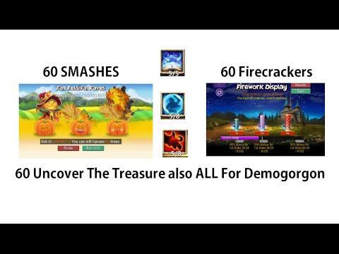100,000 Gems BEAUTIFUL Talent Rolls 60 Pumpkin/Firework Smashes Castle Clash