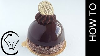 Shiny Mirror Glaze Mousse Dome with Crispy Chocolate Base and Ganache Topping
