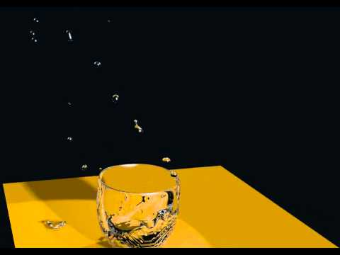 Blender fluid simulation test, water and glass