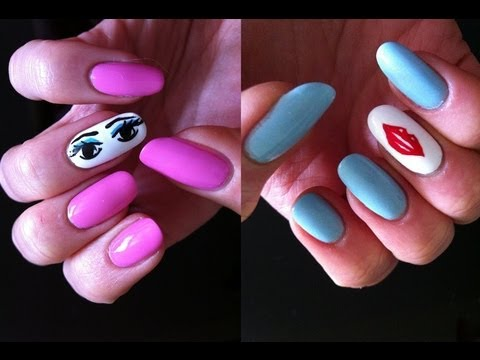 Flirty Eyes And Lips Nail Art Inspired By Kate Spade Designs Youtube