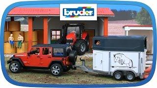 Jeep Wrangler Unlimited Rubicon mit Pferdeanhänger -- 02926 -- BRUDER Spielwaren
