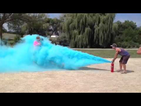 Blue Fire Extinguisher >> Color Me Rad - Madison - Getting sprayed with blue paint from a fire extinguisher. - YouTube