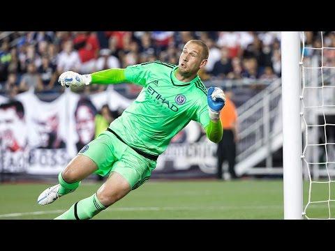 SAVE: Josh Saunders makes an incredible kick save to keep the game tied