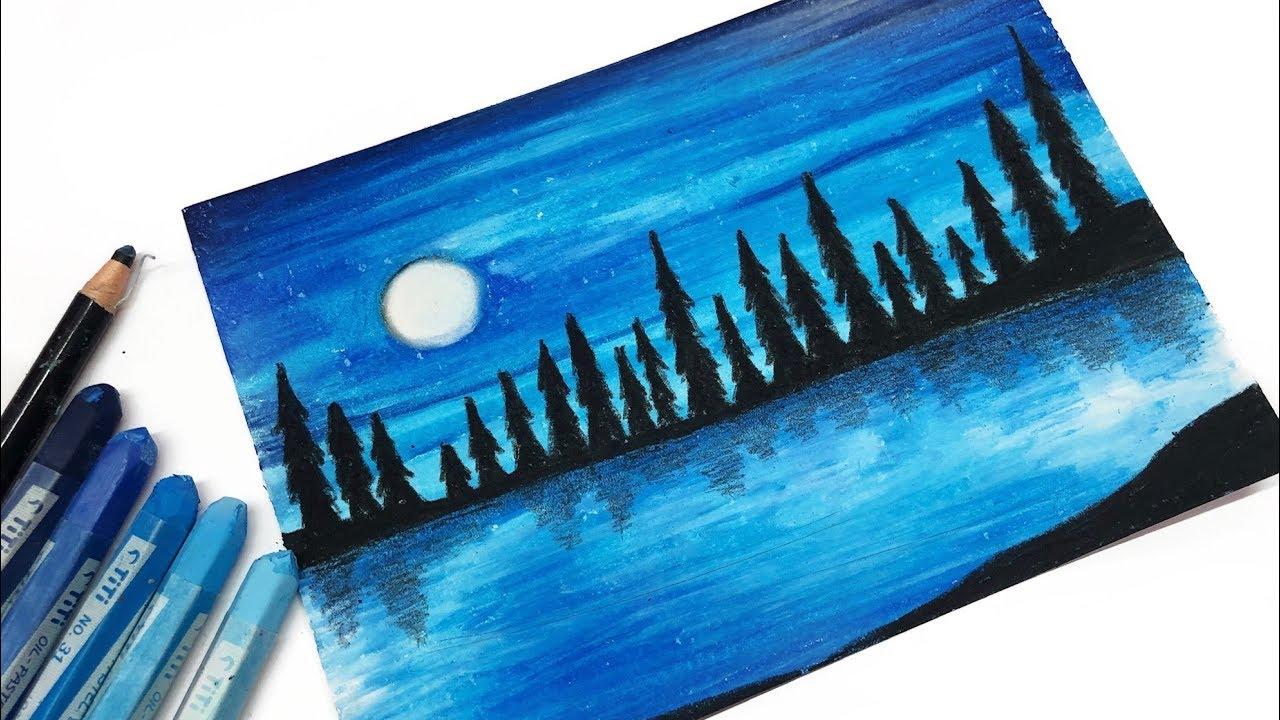 Menggambar Dan Mewarnai Langit Malam Night Sky Moonlight