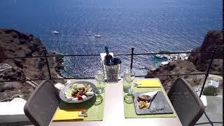 Dinner at Ombra Restaurant with a serene Caldeda View in Santorini