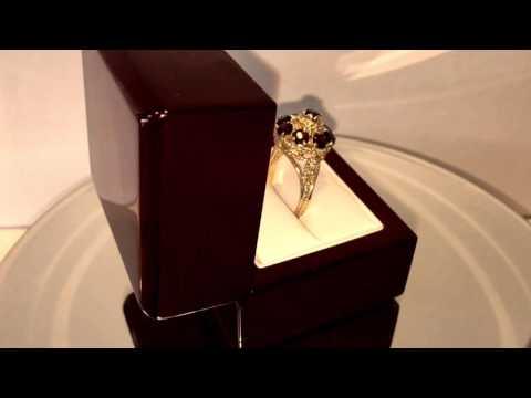 Vintage Handmade 14K Solid Yellow Gold Garnet Nine Stone Ring
