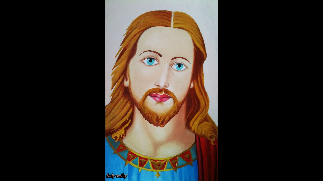 how to draw jesus christ using oil colors - YouTube