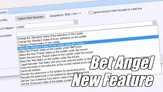 Bet Angel new release - New feature - Keyboard shortcuts