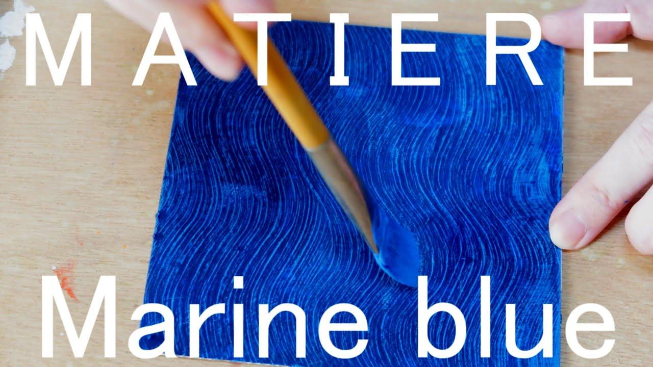 色彩構成に使える【マリンブルー の波模様マチエール 】 Acrylic painting