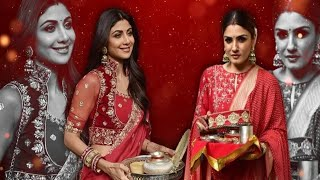 Bollywood Actress Karwa Chauth 2019 LIVE ! Raveena Tandon, Shilpa Shetty look radiant in red