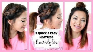 Running Late!! 3 Quick & Easy Hairstyles for Short/Medium Length Hair! ♡ ThatsHeart Thumbnail