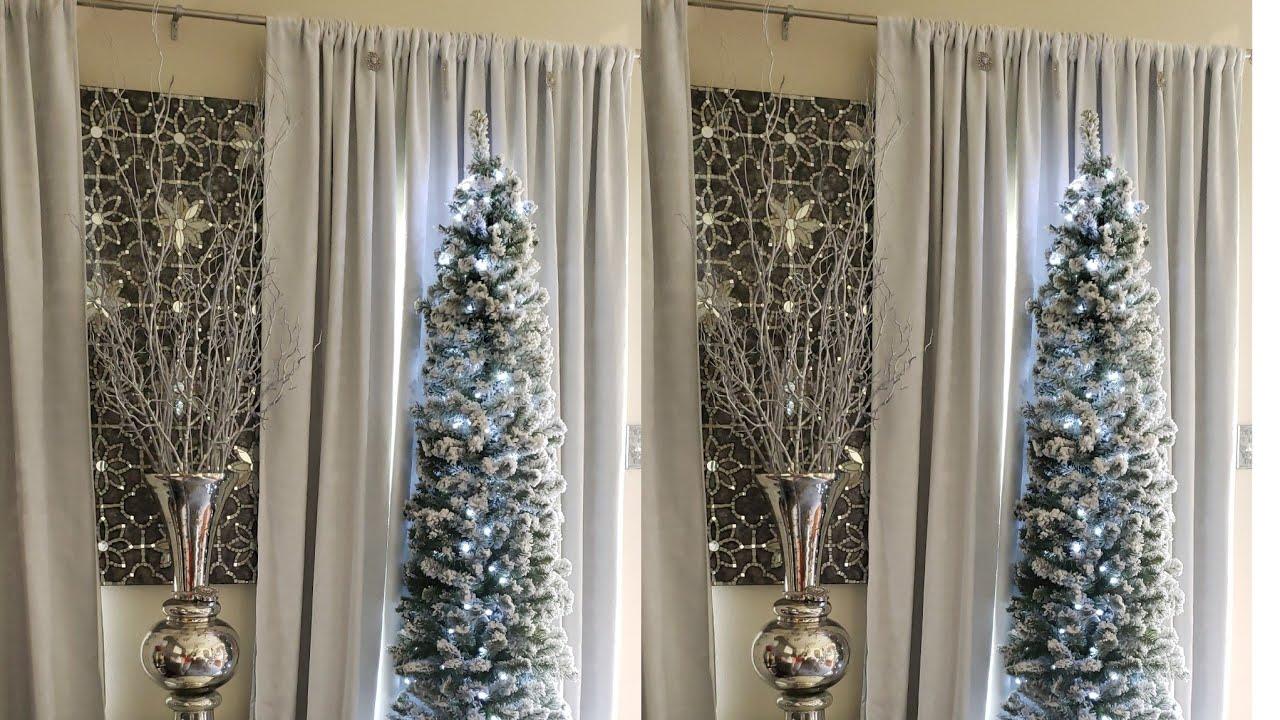 7 Ft Flocked Prince Pencil Christmas Tree Unlit From King Of Christmas Skinnytree Penciltree