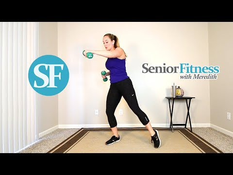 Senior Fitness Standing Cardio Exercises For Seniors Using Dumbbells