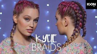 Kylie Jenner Inspired Festival Rainbow Braids Hairstyle Tutorial