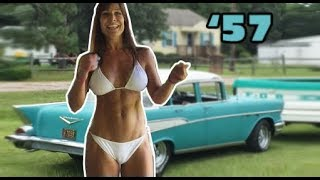 57 chevy and 50 year old farm girl s drive a classic car and woman