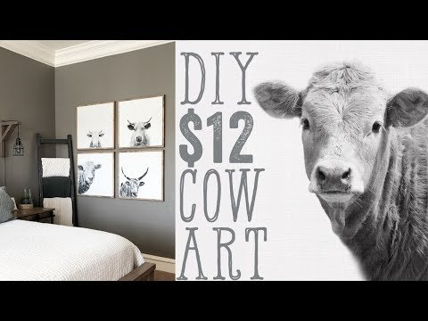 DIY Cow Wall Art for $12 - YouTube