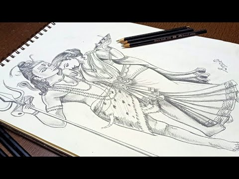 How To Lord Shiva Parvati Marriage Drawing For Kids Step By Step