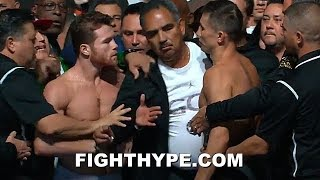 (CHAOS!) CANELO VS. GOLOVKIN 2 WILD WEIGH-IN; SCUFFLE AT HEATED FACE OFF