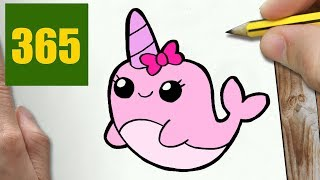HOW TO DRAW A NARVAL CUTE, Easy step by step drawing lessons for kids