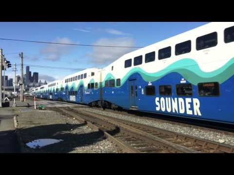 Boeing, Amtrak, and Sounder trains in south Seattle