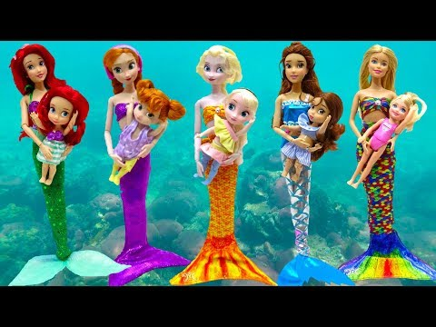 Disney Princesses Toddlers Mermaid Tail & Costumes Barbie Swim Underwater With Play-Doh Surprise