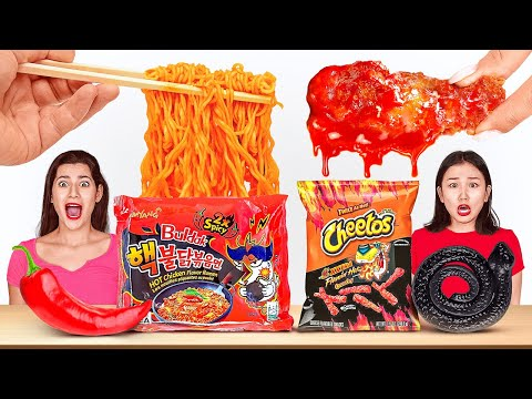 SPICY VS SWEET VS SOUR FOOD CHALLENGE || Fire Spicy Noodles! TikTok Food Tricks By 123 GO! CHALLENGE