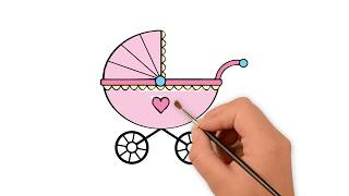 How to draw a Baby carriage  -  How to draw funny cartoons