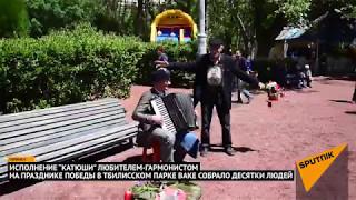 Катюша растрогала тбилисцев: гармонист играл военные песни в парке Ваке