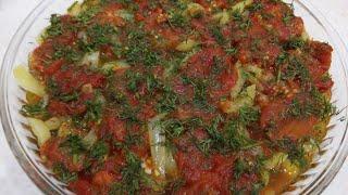 мАНГАЛ САЛАТНОВИНКА СЕЗОНАЗАПЕЧЁННЫЙ БАКЛАЖАН ПОД СОУСОМ С ОВОЩАМИ vegetable salad