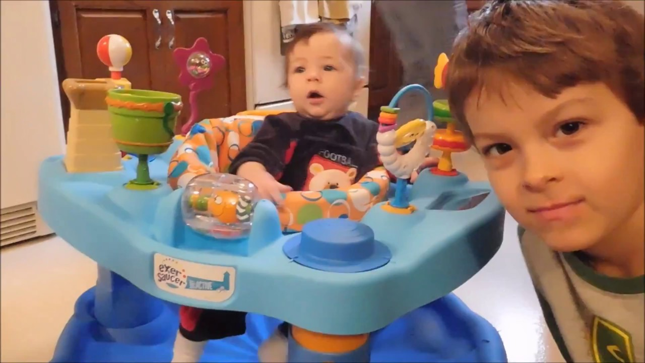 3a352857f Evenflo ExerSaucer Activity Center Bouncer Assembly and Review - YouTube