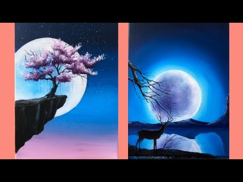 6 Canvas Paintings For Beginners Easy Painting Ideas Youtube