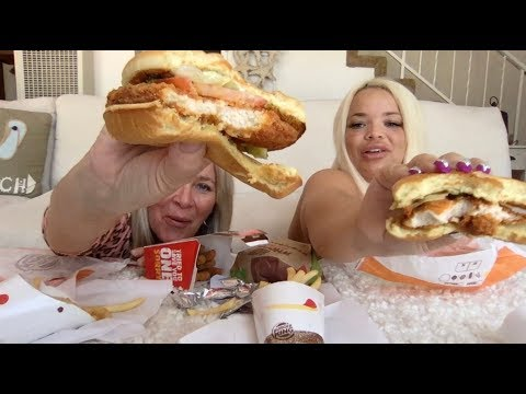 MOM TRIES BURGER KING'S SPICY CRISPY CHICKEN SANDWICH   FAMILY FEAST - Whoppers, Chicken Fries