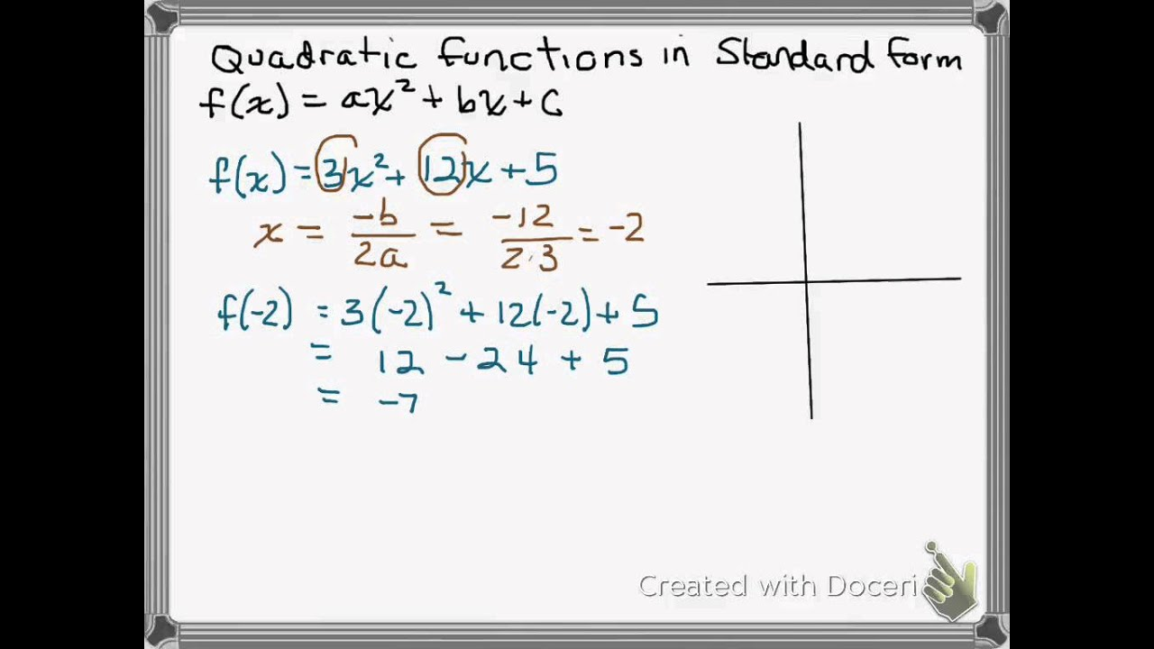 Quadratic function standard form finding vertex domain range quadratic function standard form finding vertex domain range falaconquin