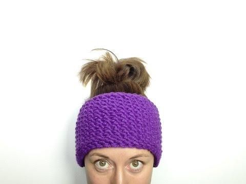 Cómo tejer con telar una cinta calentadora / diadema de lana en punto de arroz (Tutorial DIY)