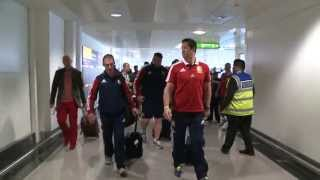 British and Irish Lions return to Heathrow from Australia