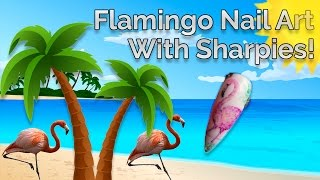 Flamingo Nail Art Using Sharpies