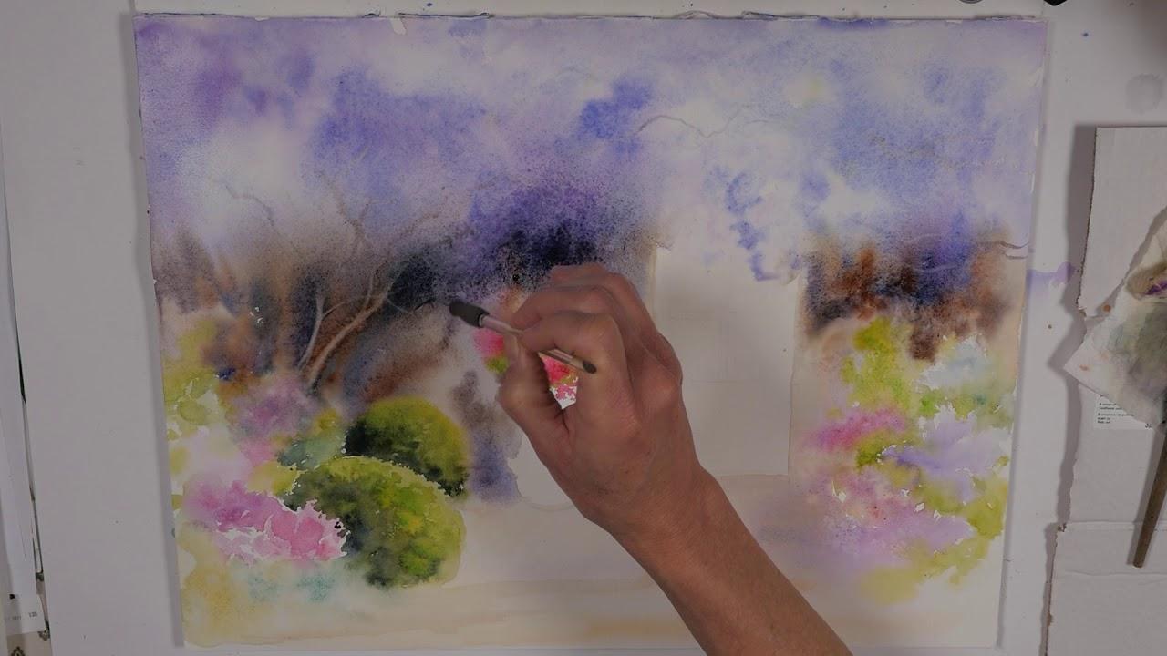 Une Glycine A L Aquarelle Wisteria In Watercolor Youtube