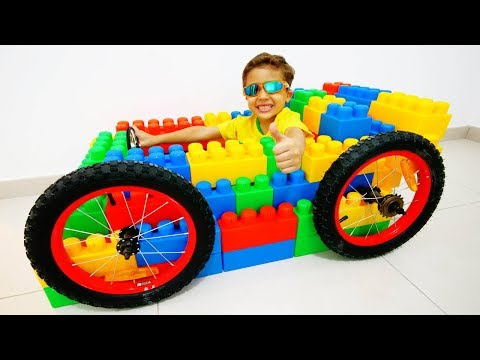 Jessy and Miles pretend play with lego with Mcqueen / Learn Colors for Kids