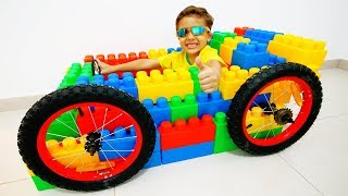 Jessy and Miles pretend play with lego with Mcqueen / Learn Colors for Kids thumbnail