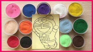 Video đồ chơi trẻ em TÔ MÀU TRANH CÁT MÈO MÁY ĐÔRÊMON - Colored Sand Painting Doremon (Chim Xinh)