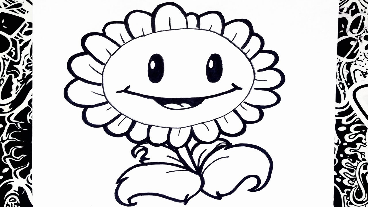 Como dibujar un girasol plantas vs zombies how to draw for Imagenes de un estanque para colorear