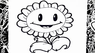 Como dibujar un girasol plantas vs zombies | how to draw sunflower