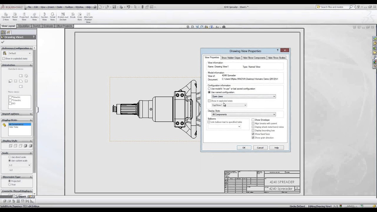 how to change size of drawing on solidworkd