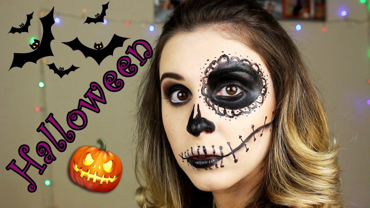 Maquiagem para halloween caveira mexicana simples