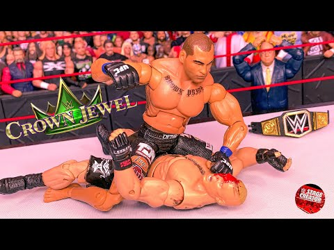 BROCK LESNAR VS CAIN VELASQUEZ WWE CHAMPIONSHIP ACTION FIGURE MATCH! WWE CROWN JEWEL!