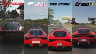 DriveClub vs Forza Horizon 3 vs The Crew vs The Crew 2 - Ferrari 458 Speciale Sound Comparison