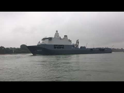 HNLMS Karel Doorman passing Schiedam for the World Port Days 2017