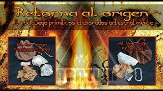 Fuego primitivo con pedernal, marcasita o eslabón y hongo yesquero