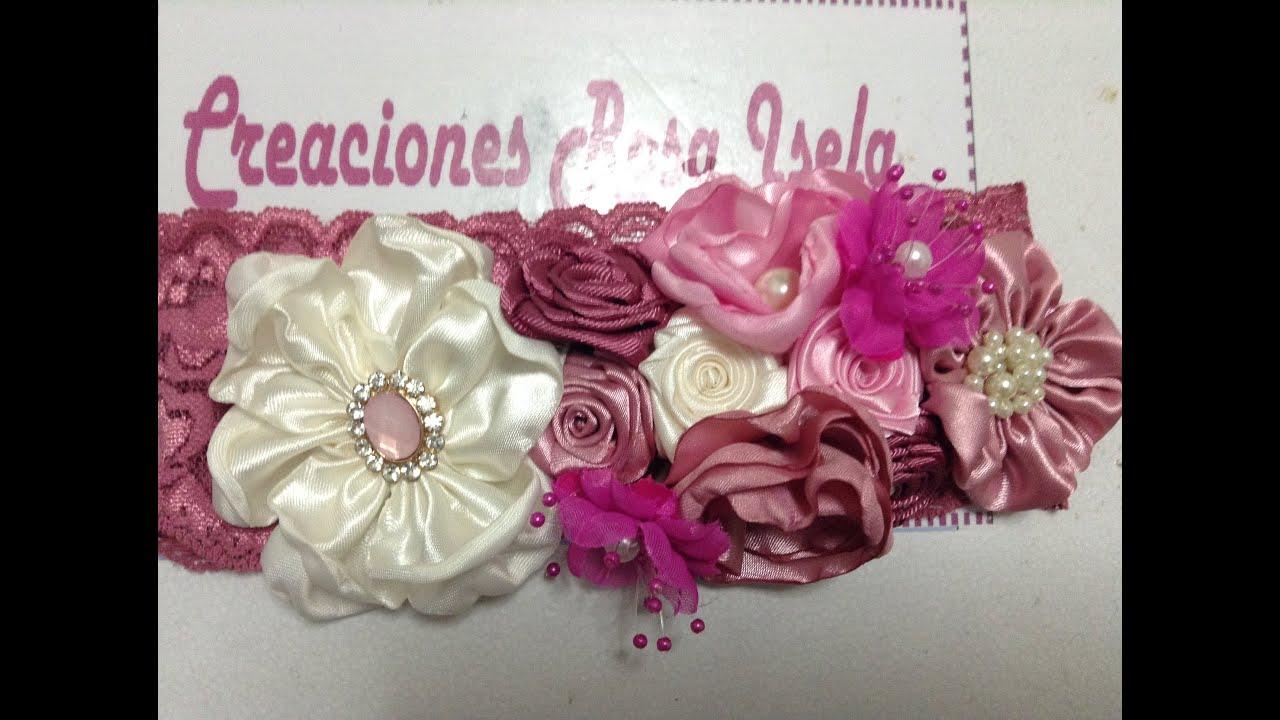 Tiara de flores de tela tonos rosa y beich con perlas VIDEO No. 181 , YouTube