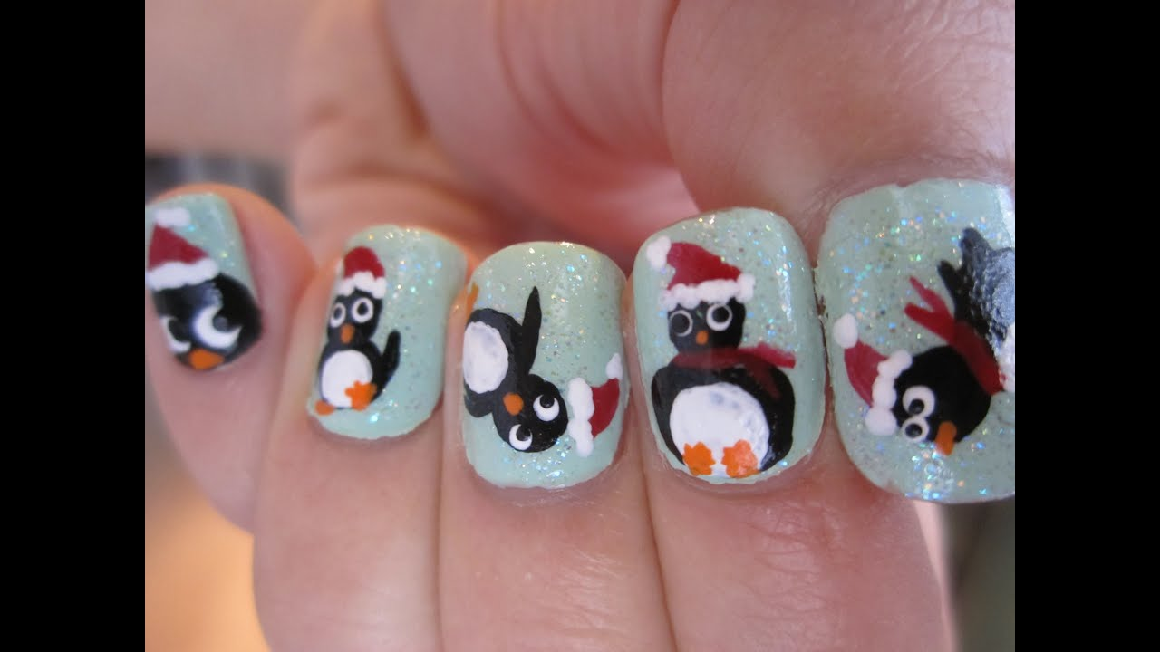 christmas penguin nail art